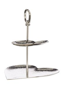 BEATEN METAL HEART CAKE STAND