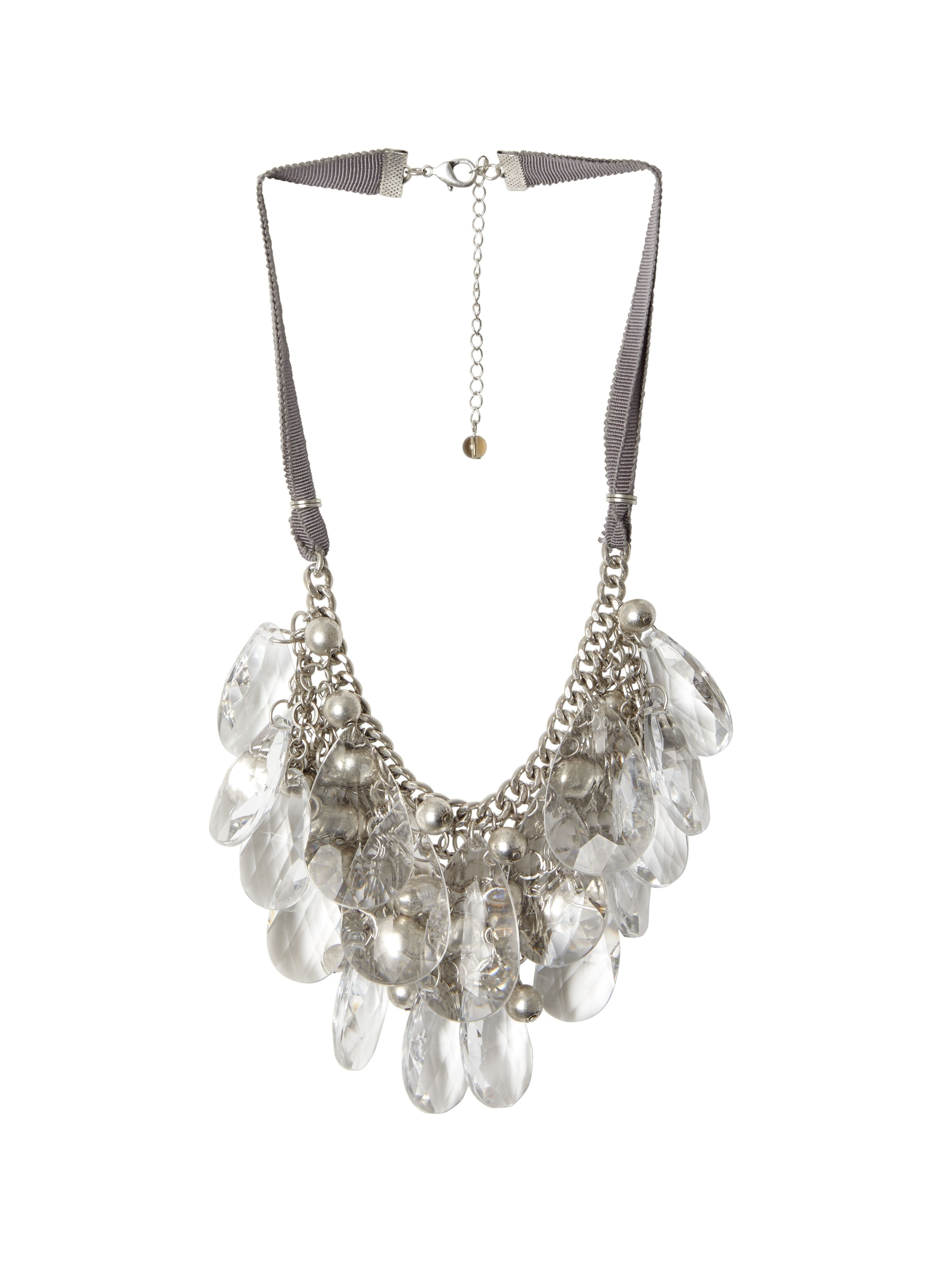 Clear bead drop necklace