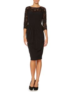 Illusion lace midi dress with 3/4 length sleeve