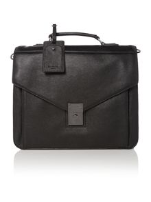 Leather push lock briefcasse
