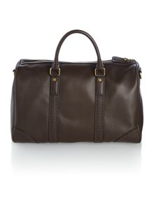Broguing leather holdall bag
