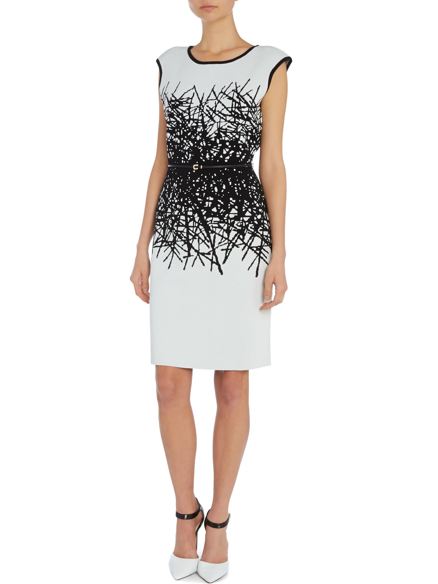 Sleeveless white dress with black print detail