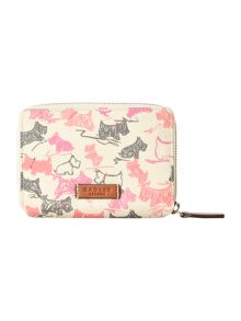Doodle dog ivory medium zip around purse