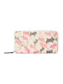 Doodle dog ivory large zip around matinee purse
