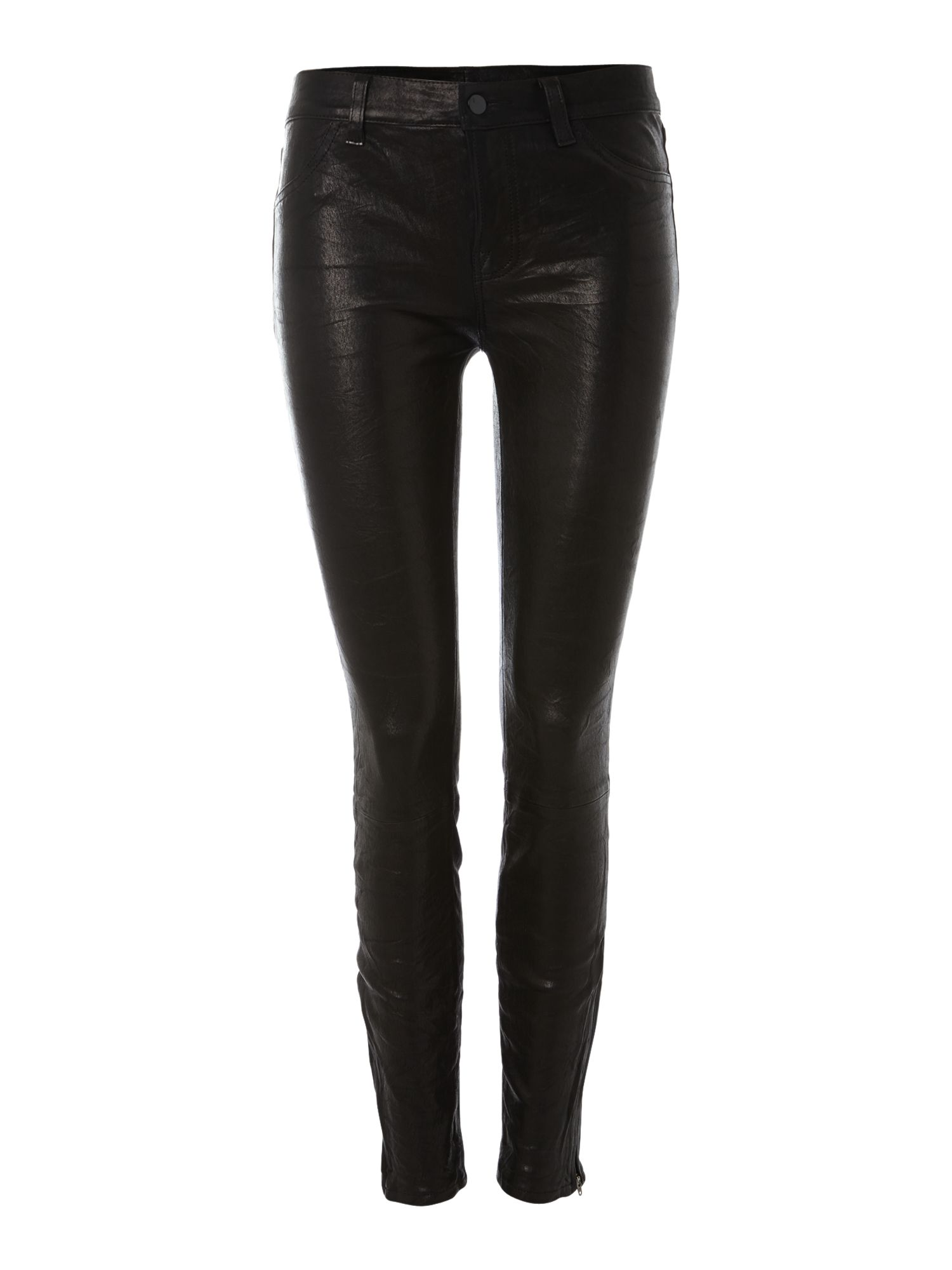J Brand L8001 leather super skinny legging in noir, Black