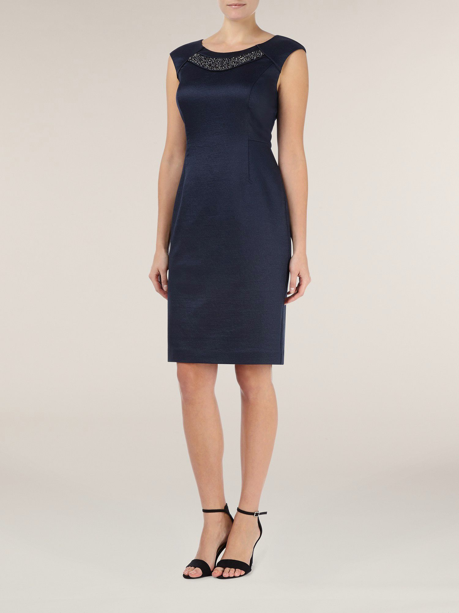 Navy embellished neck dress