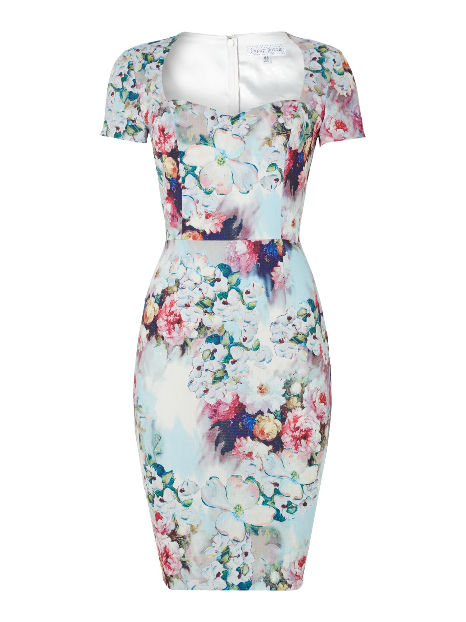 Short sleeved crew neck floral bodycon dress