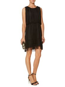 Fringed beaded shoulder dress