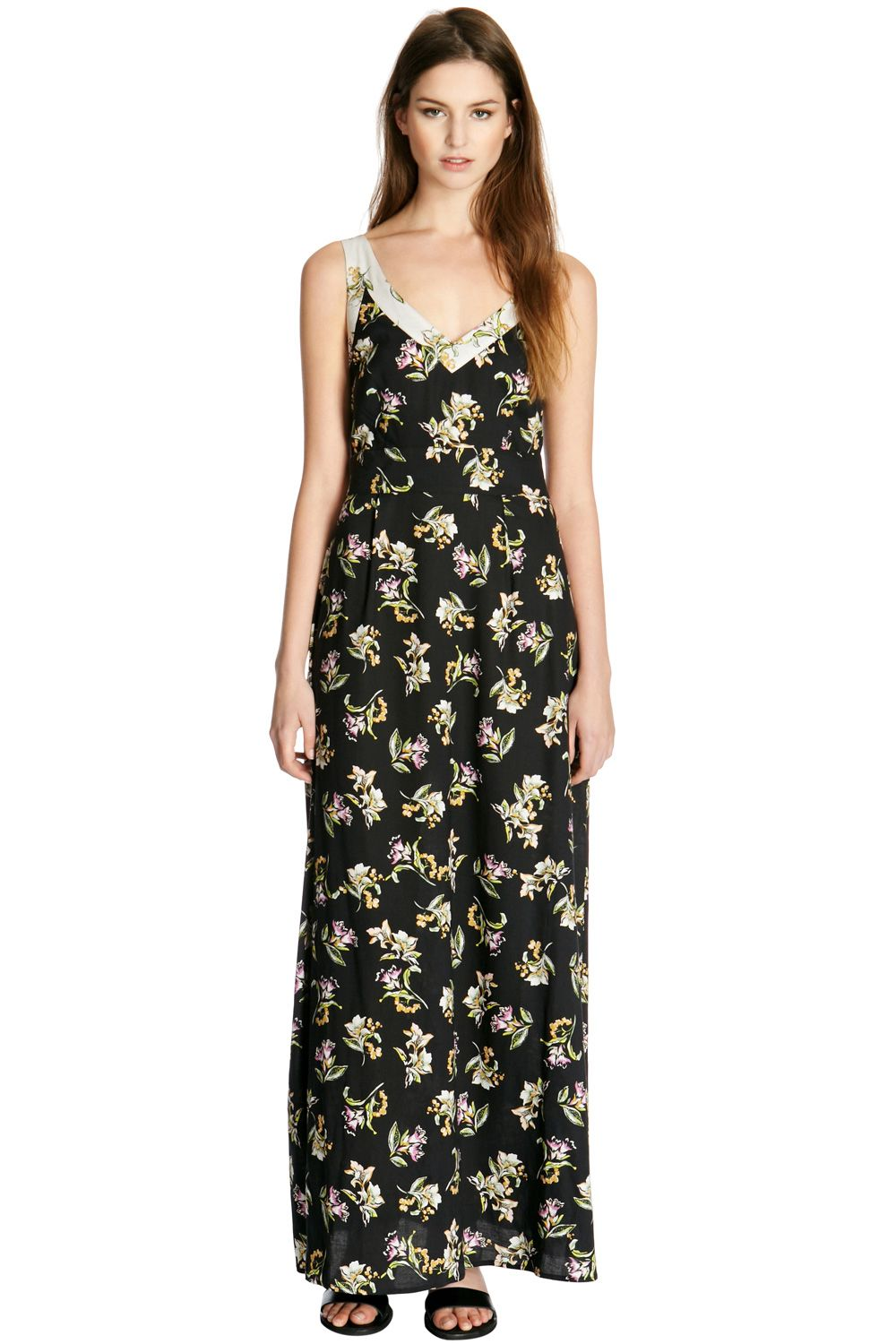 Floral blocked maxi dress