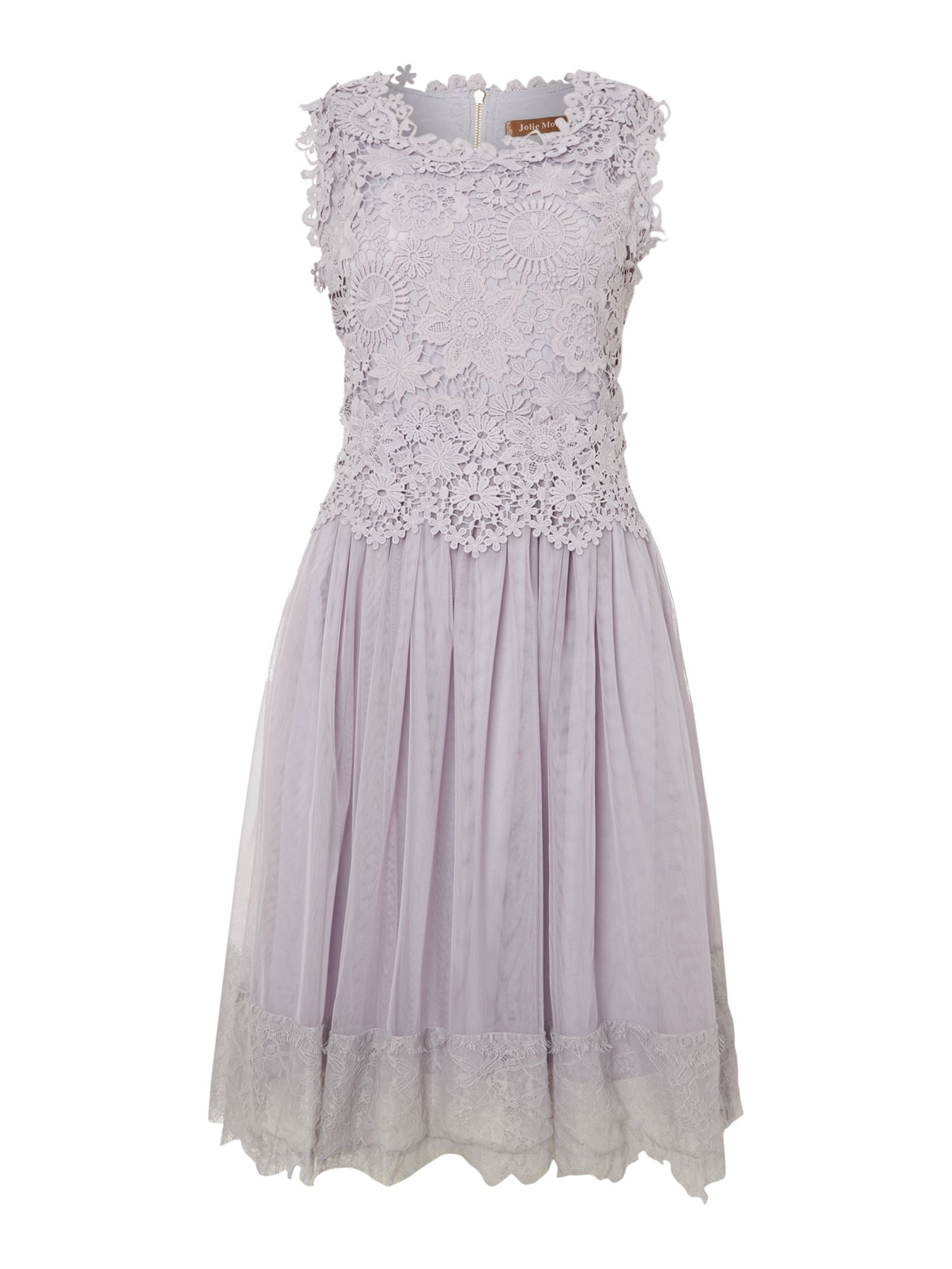 Crochet lace overlay prom dress