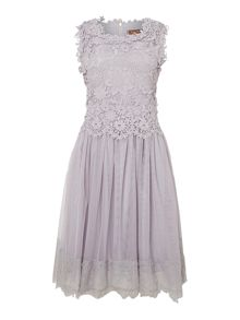 Jolie Moi Crochet lace overlay prom dress