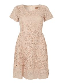 Crochet lace cap sleeve tea dress