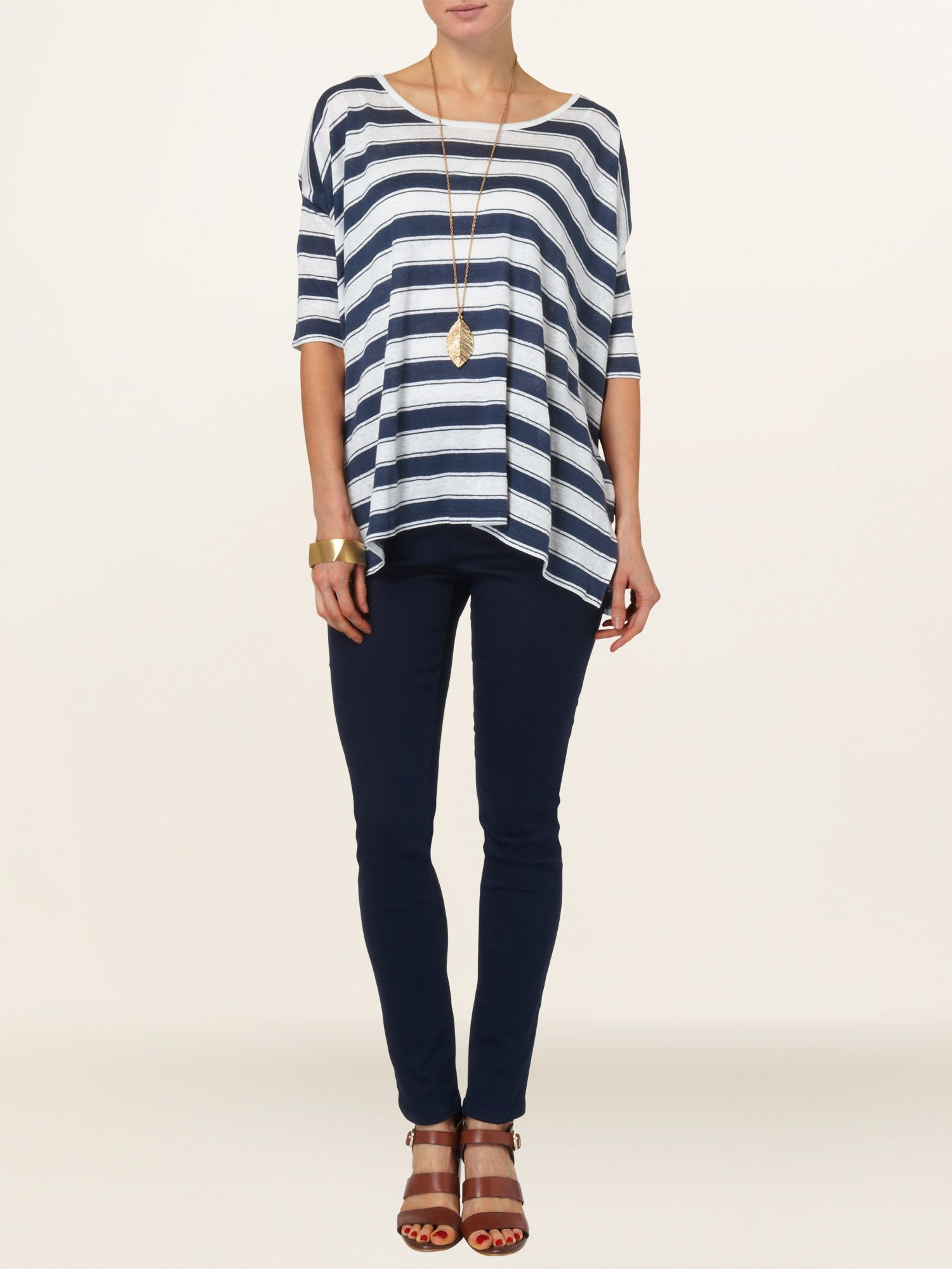 Shauna linen stripe top