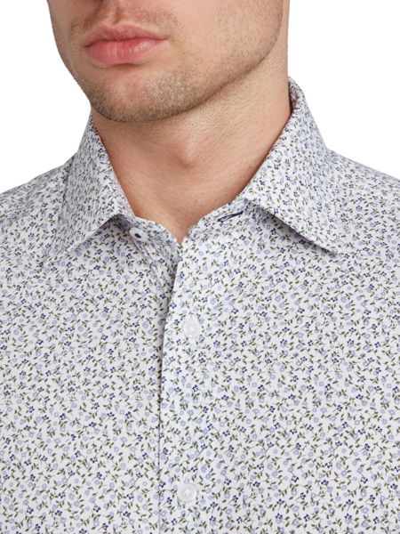 TM Lewin Flower print slim fit long sleeve shirt