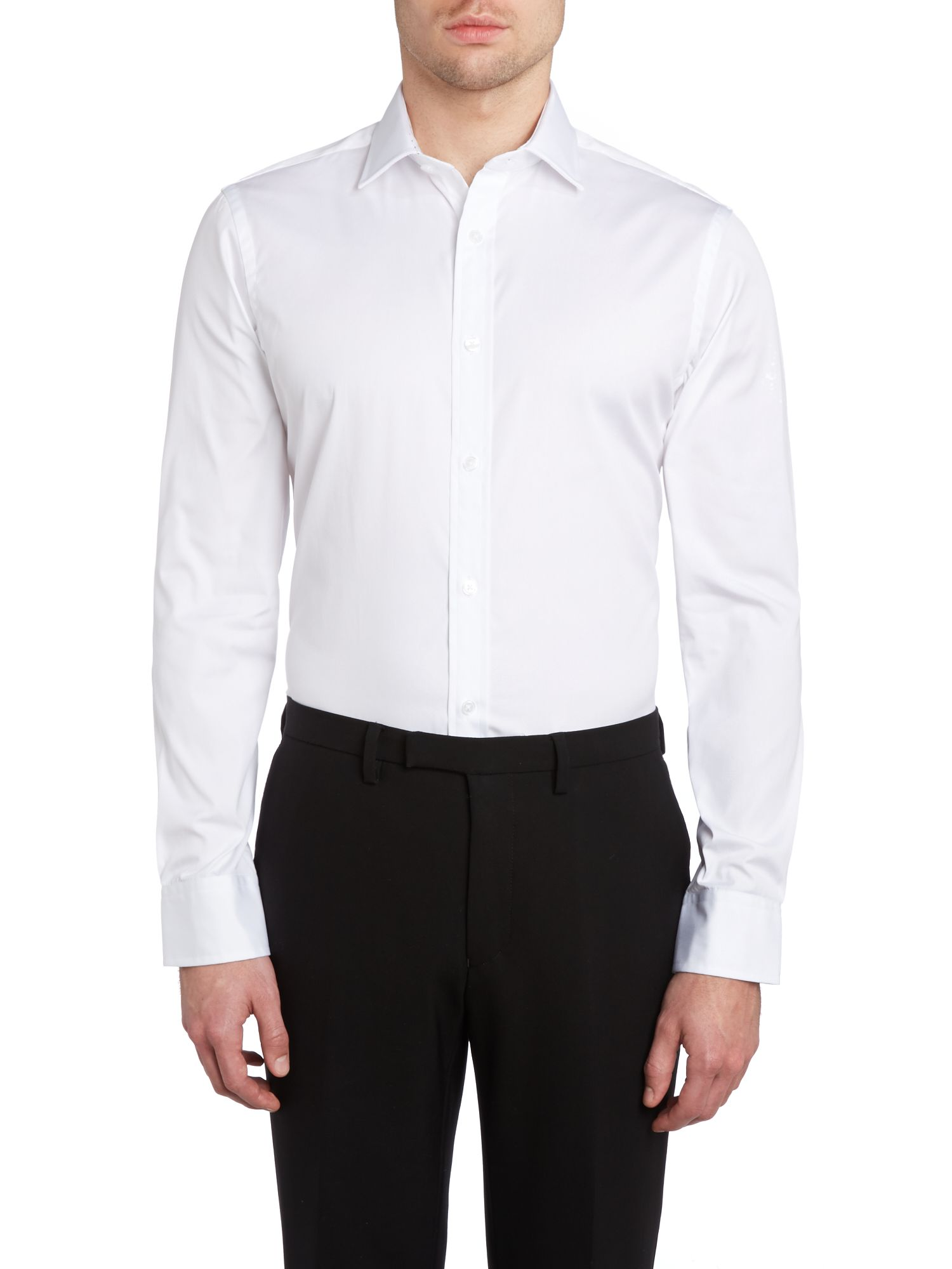 Poplin fully fitted long sleeve shirt