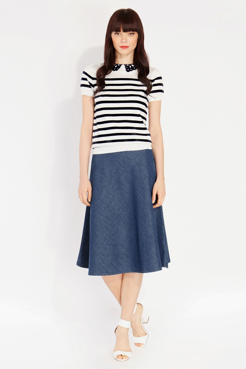 Broderie collar stripe top