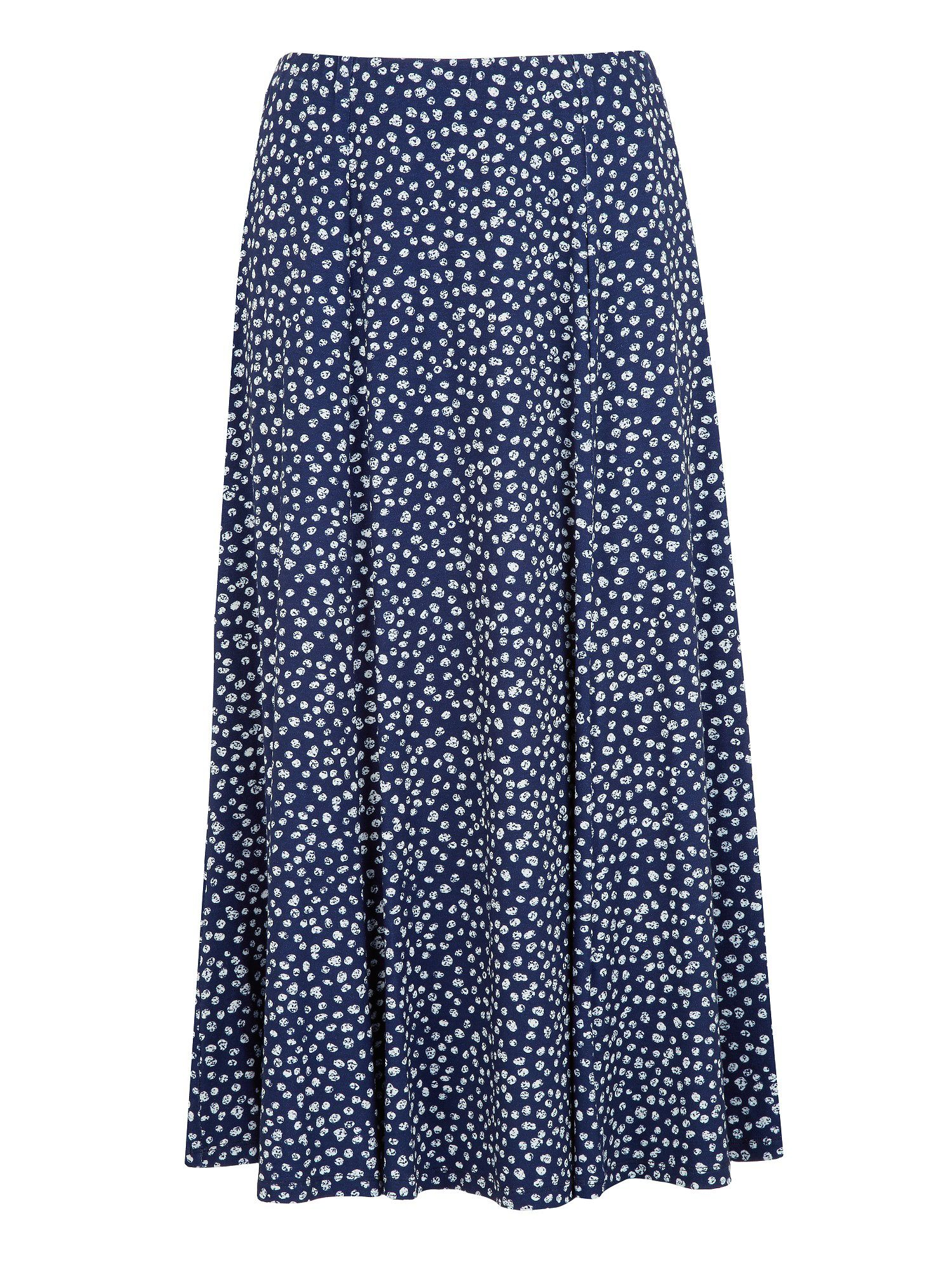 Polka dot shorter length jersey skirt