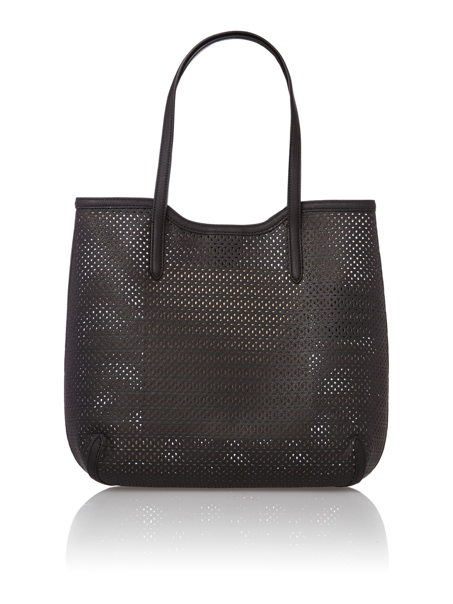 Black cut out large tote bag