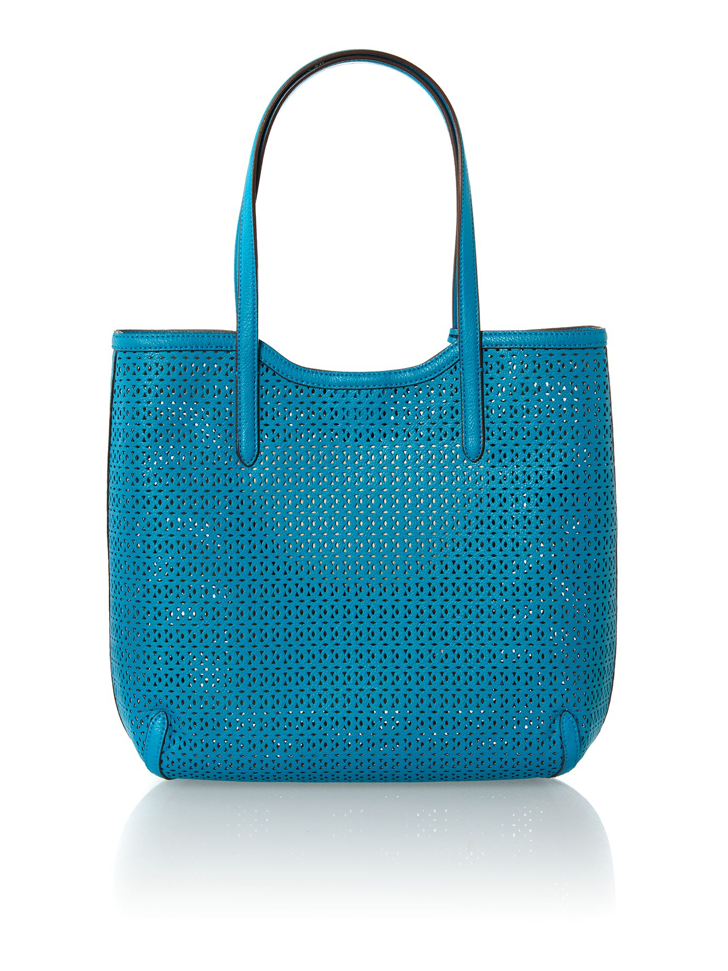 Blue cut out large tote bag