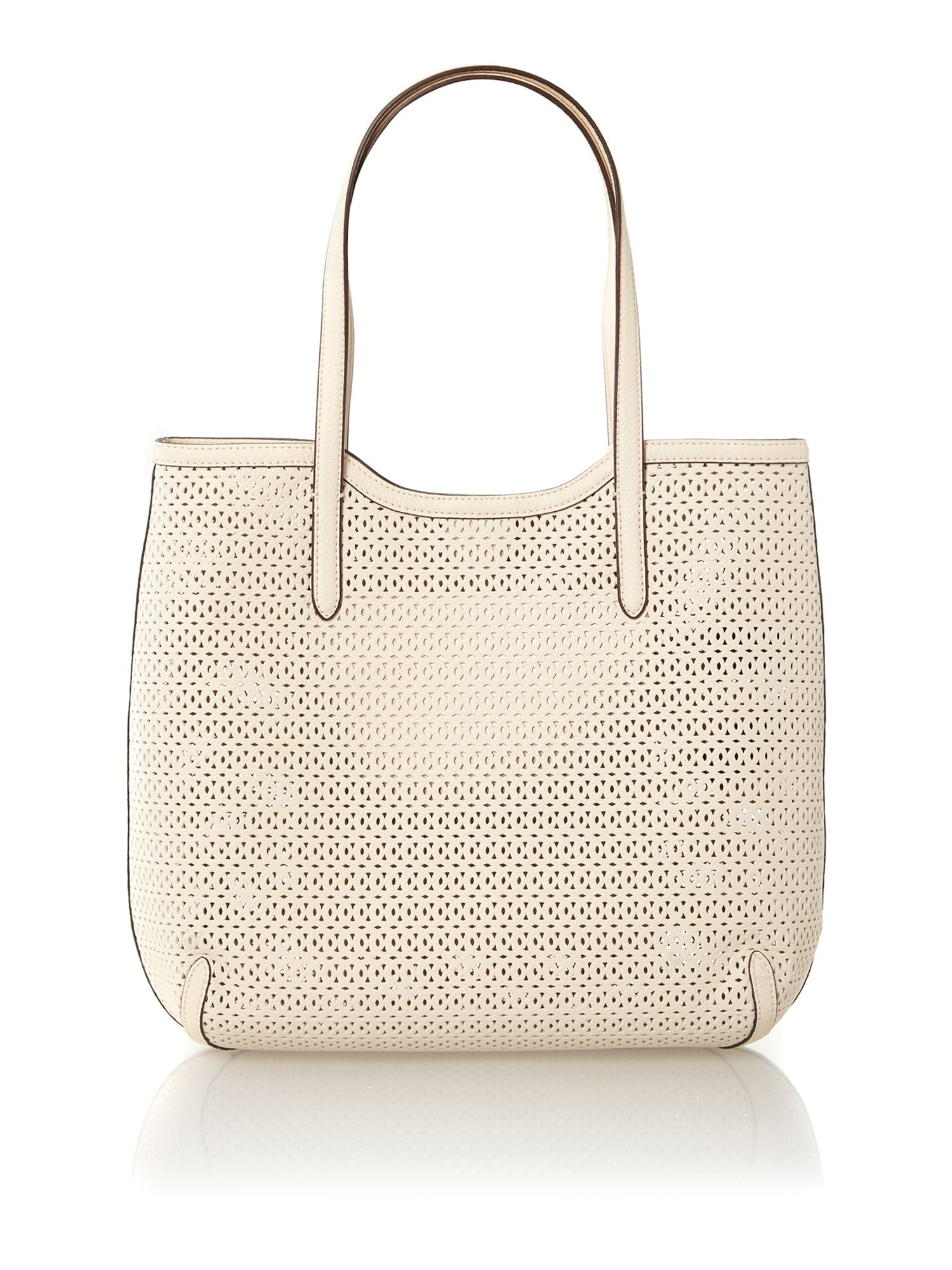White cut out large tote bag