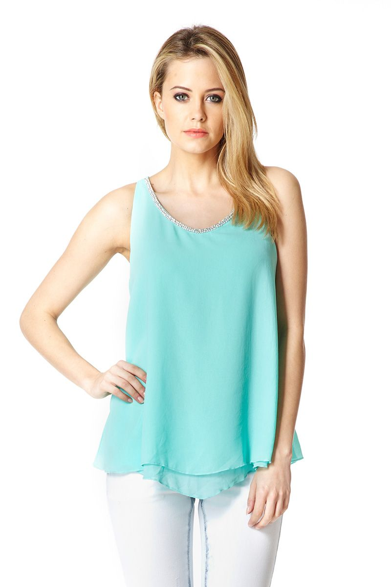 Double layer chiffon diamante top