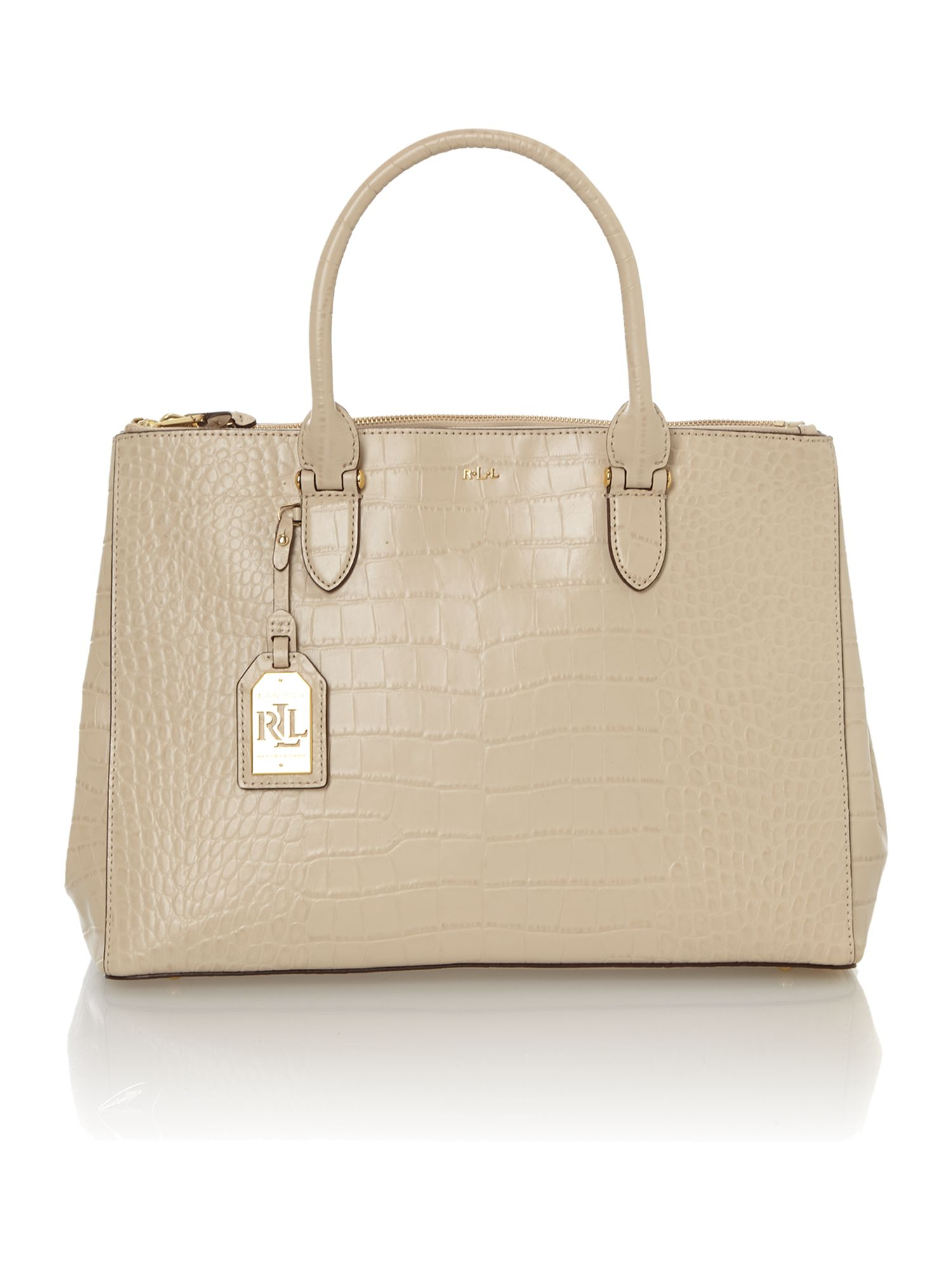 Lanesborough neutral croc double zip tote bag