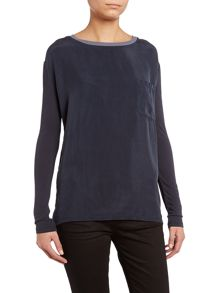 7 For All Mankind Long sleeve silk shirt in estate blue