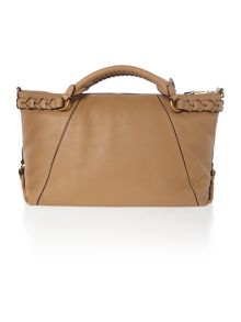 Neutral large plaited handle tote bag