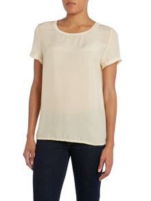 7 For All Mankind Short sleeve silk top in almond