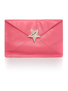 Pink envelope clutch bag