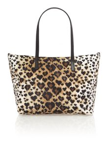 Multi coloured leopard print small tote bag