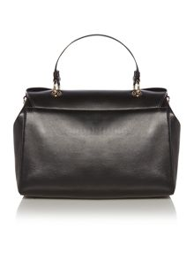Black flap over satchel bag
