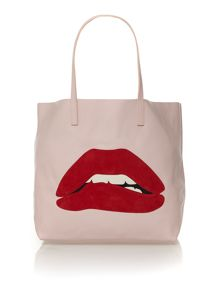 Pink large lips tote bag