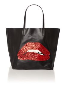 Black large lips tote bag