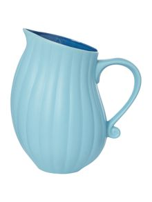 Blue ribbed jug