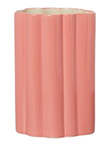 Pink ribbed vase, medium