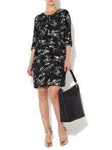 Printed tuck front dress