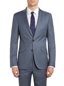 Contrast twill slim fit suit jacket