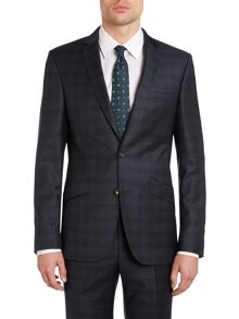 Black watch tartan slim fit suit jacket
