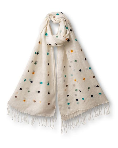 East Embroidered spot scarf