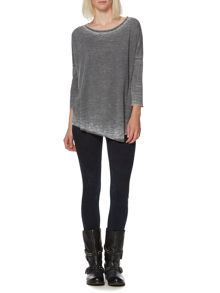 Burnout asymmetric hem ls top