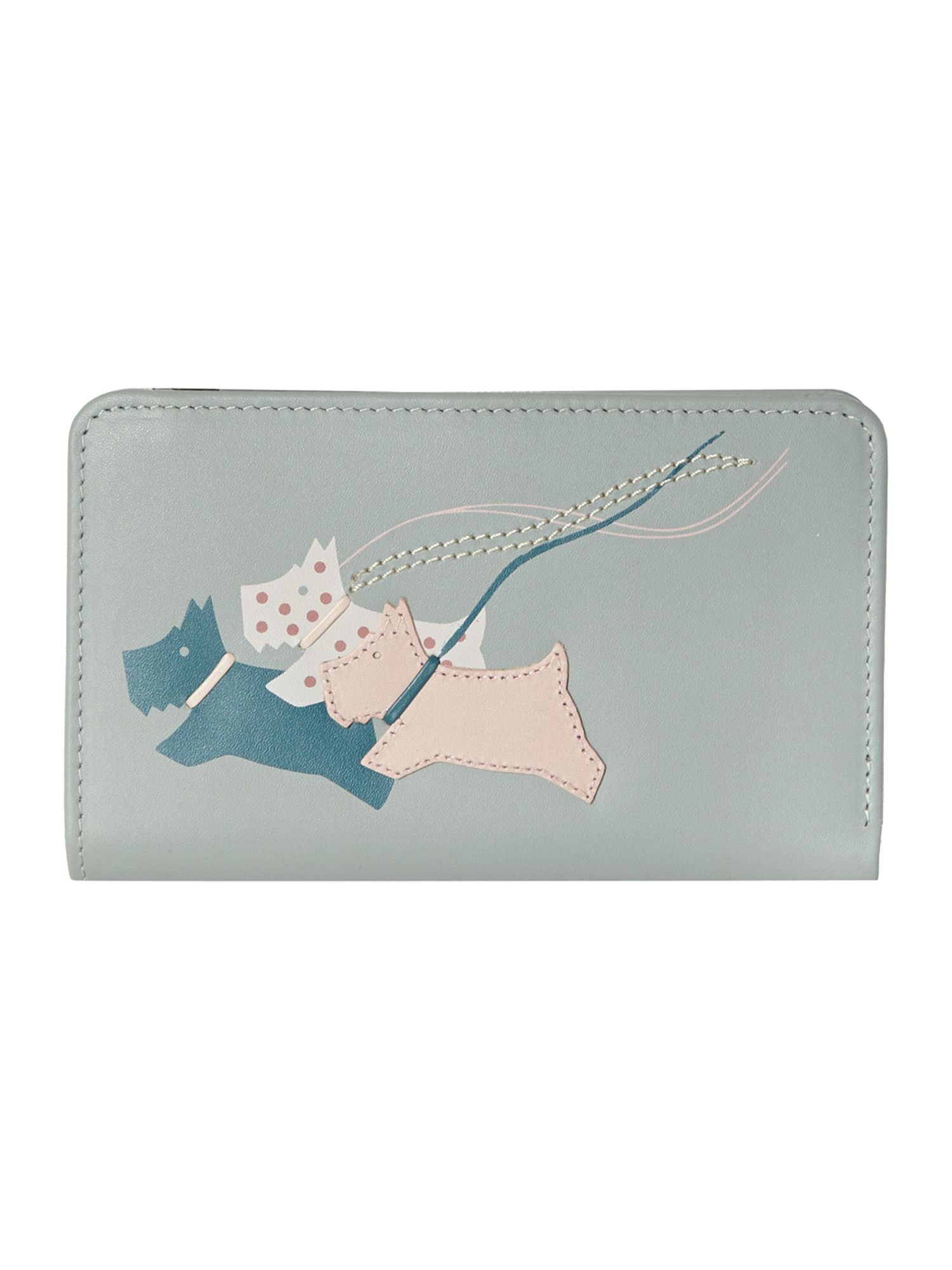 On the run pale blue medium zip around purse