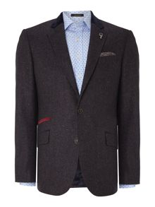 Donegal jacket with velvet trim