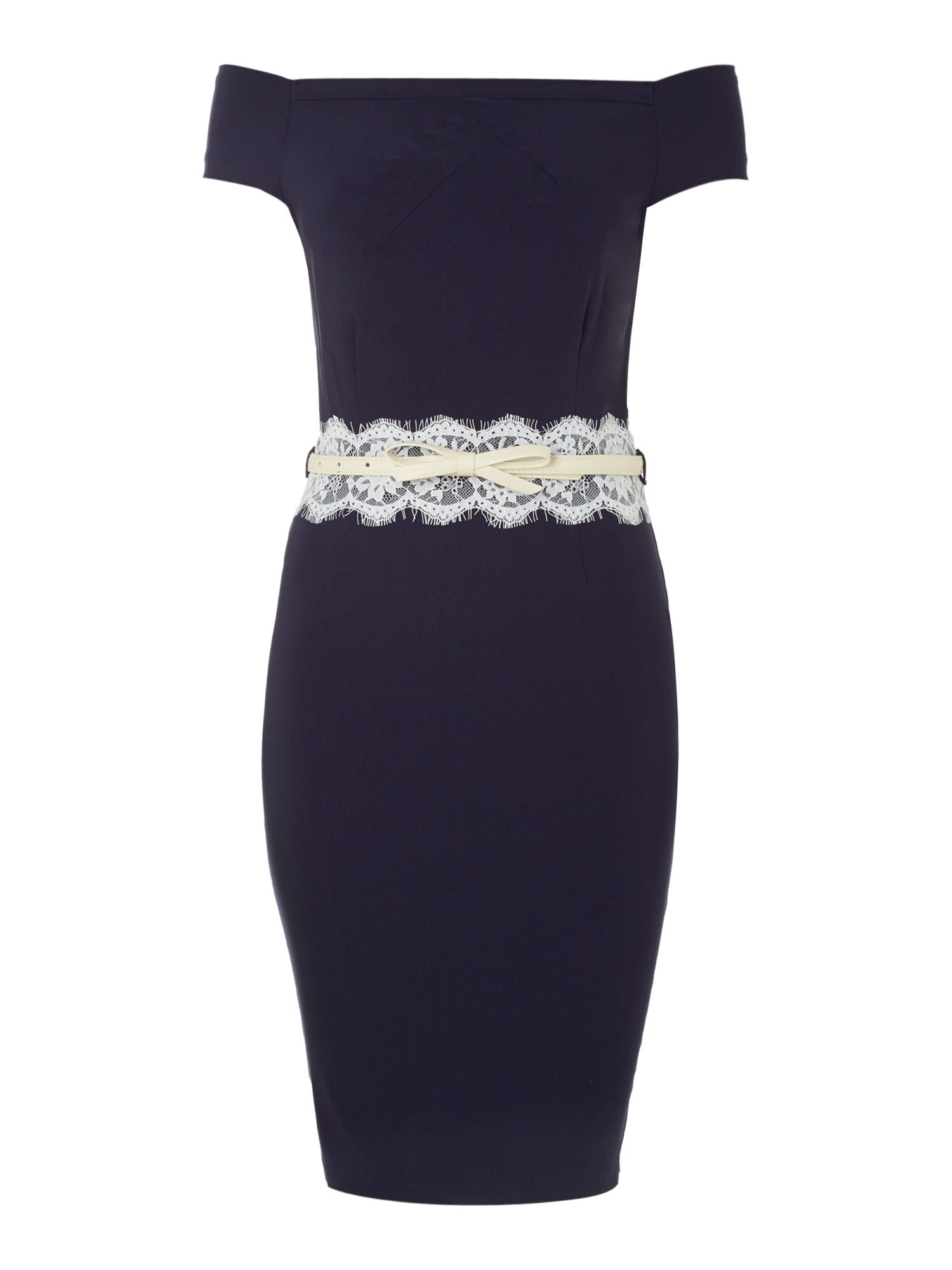 Capped sleeved off the shoulder lace bodycon