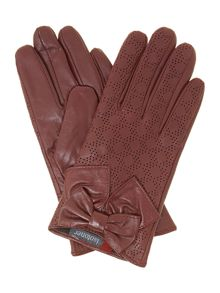 Punched out leather glove with big bow
