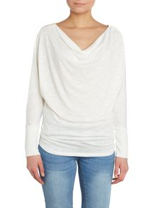Zip shoulder cowl neck top