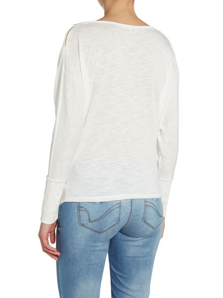 Wal-G Zip shoulder cowl neck top