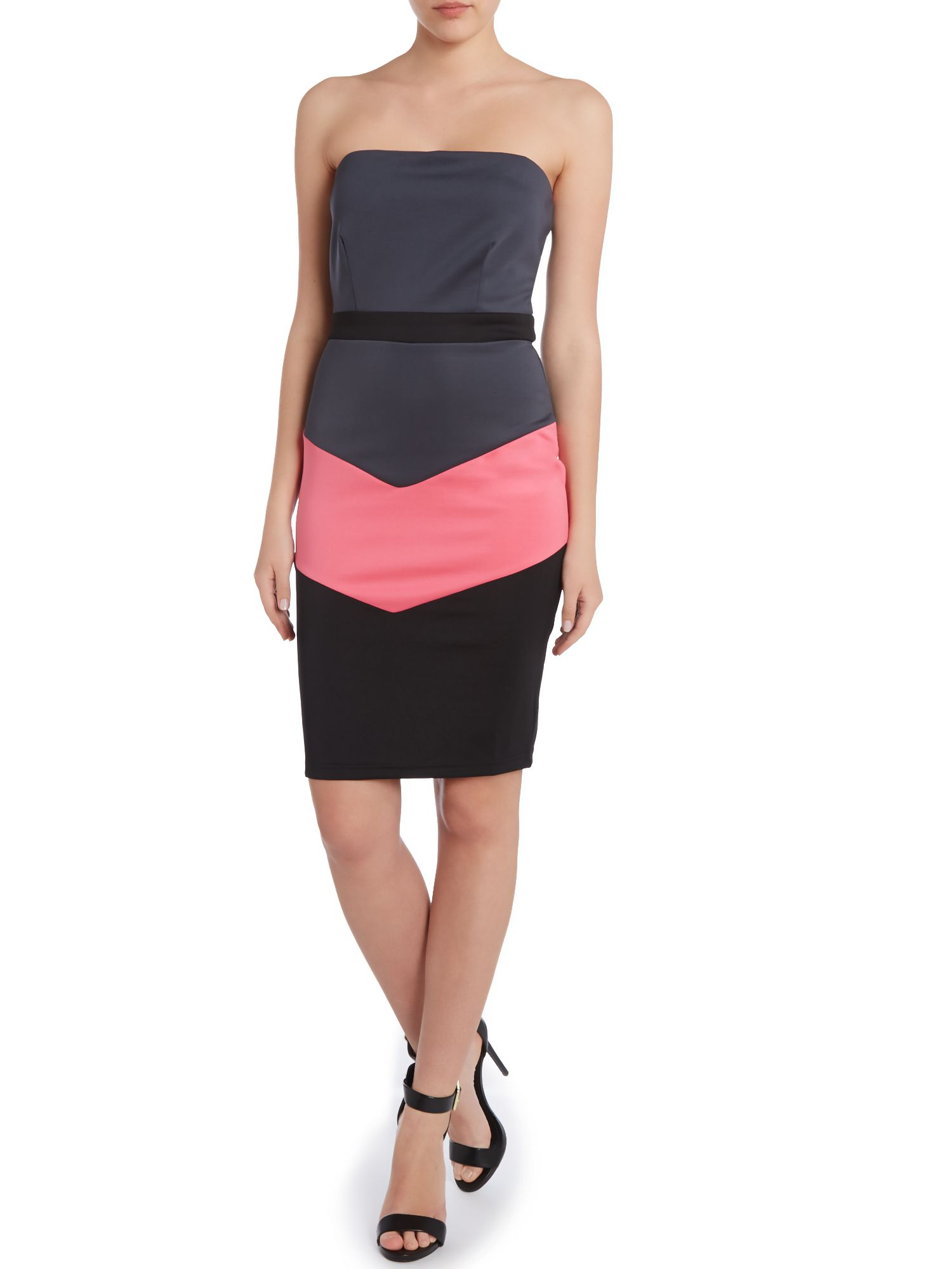 Strapless scuba bodyon dress