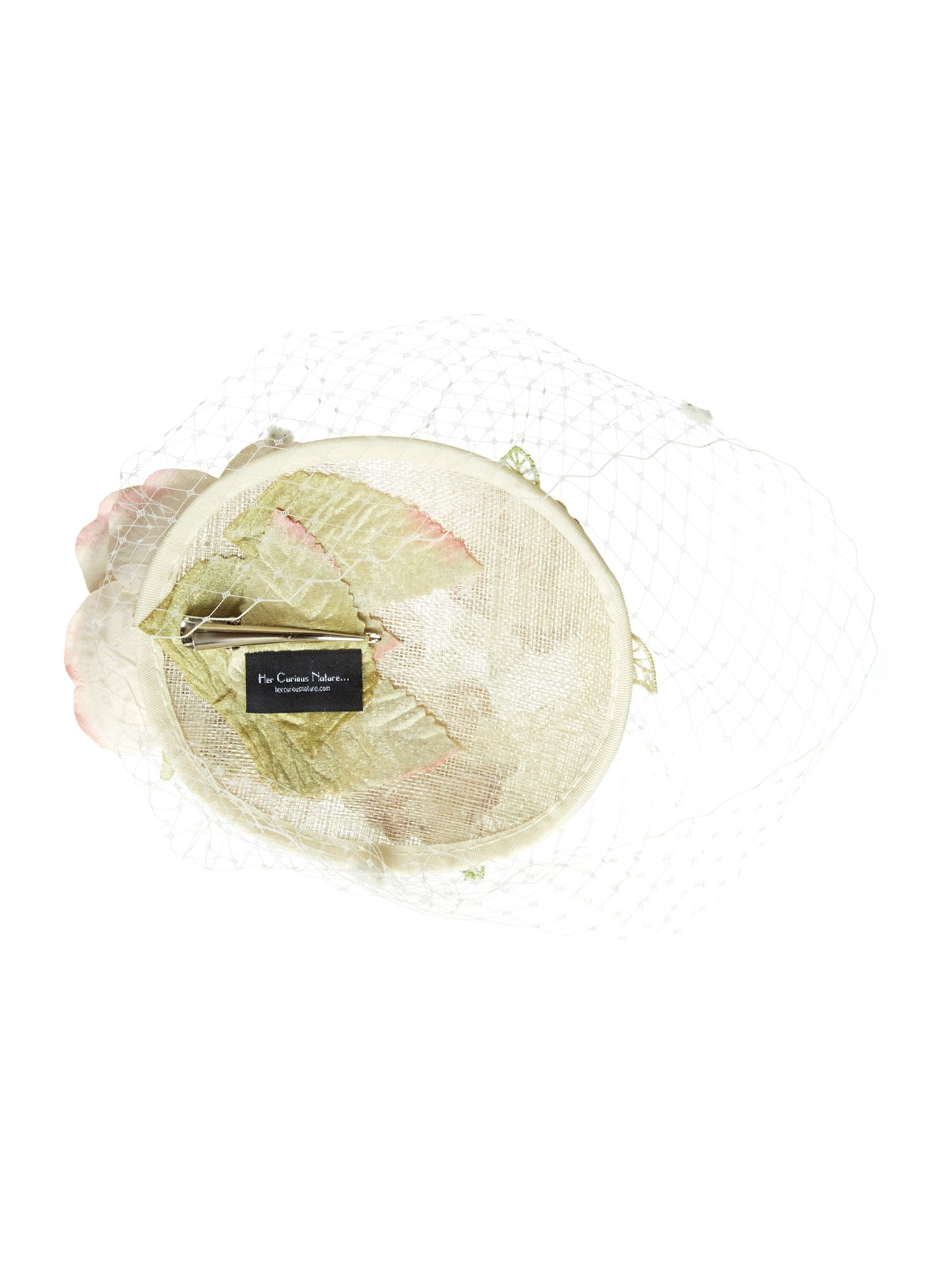 Camellia floral veiled pillbox