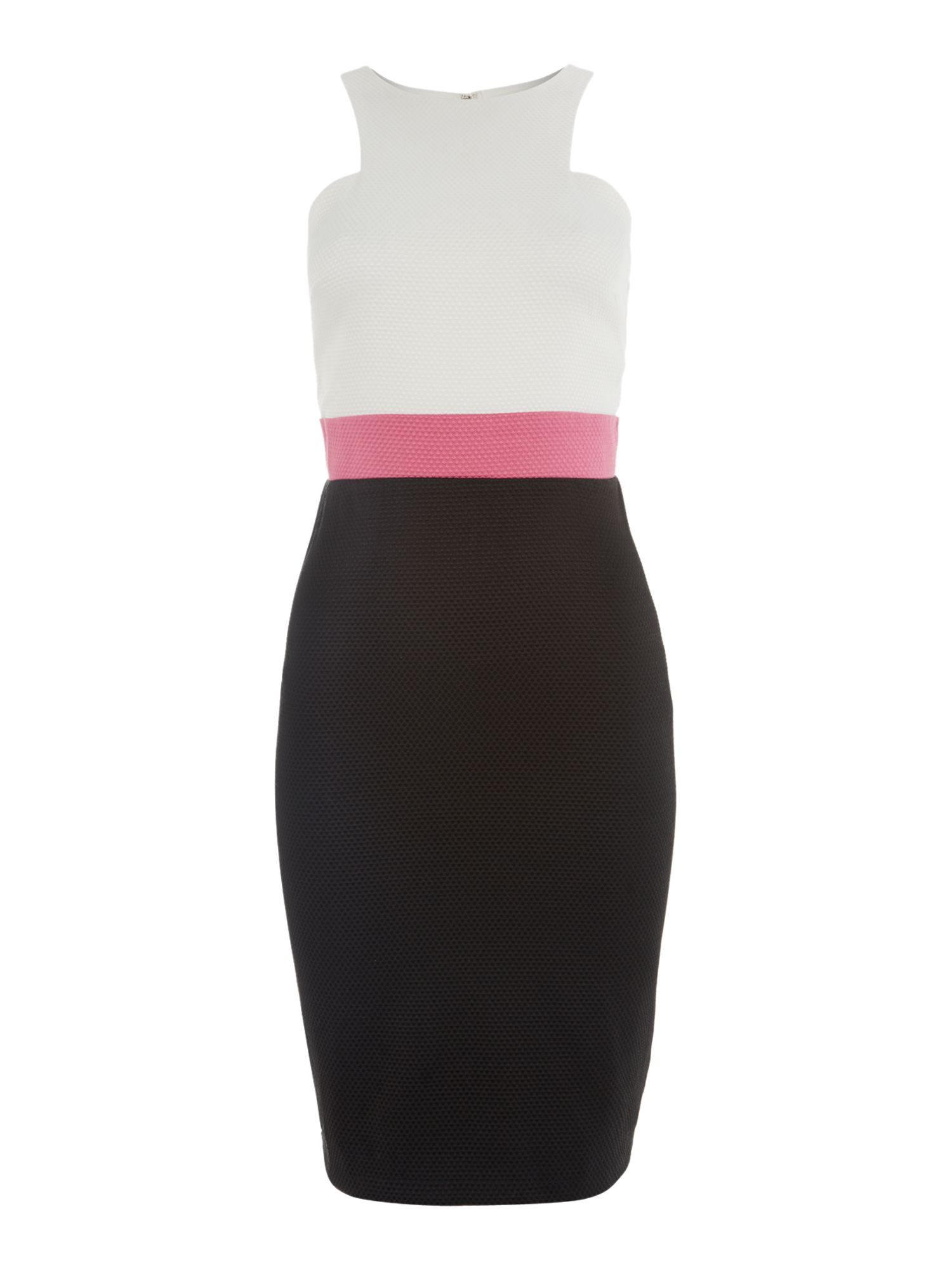 Cut away waffle bodycon dress